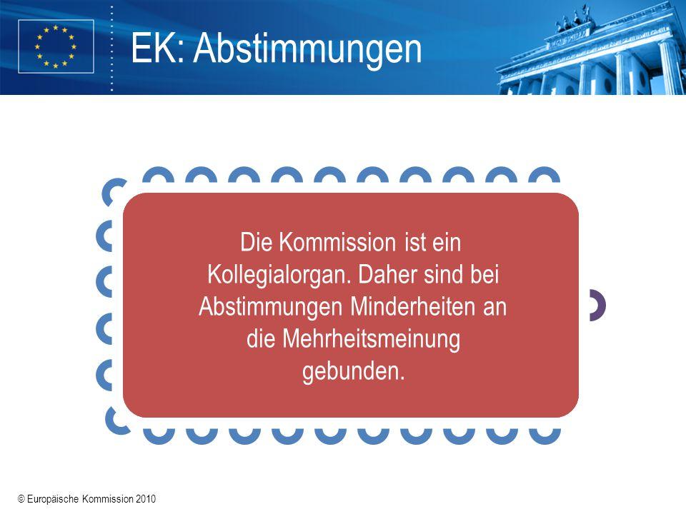 EK: Abstimmungen Die Kommission ist ein Kollegialorgan. Daher sind bei