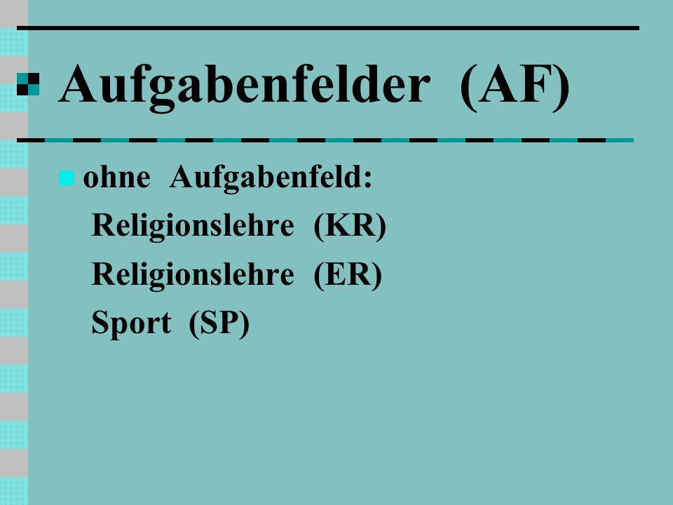 Aufgabenfelder (AF) ohne Aufgabenfeld: Religionslehre (KR)