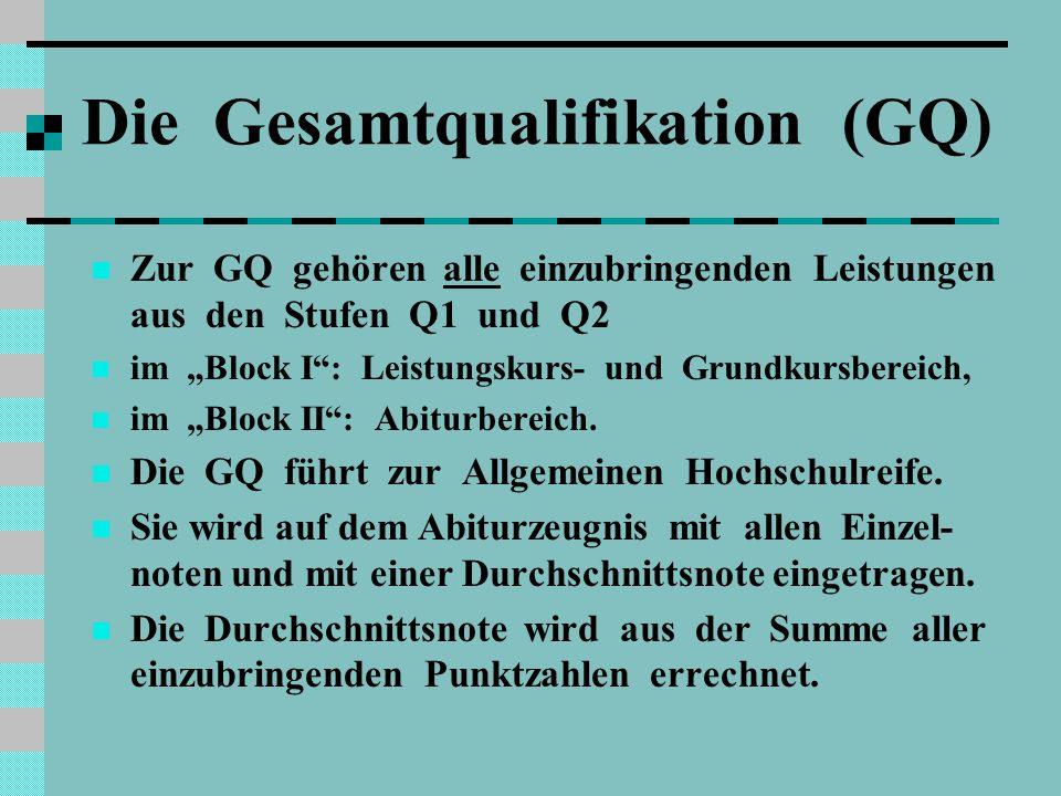 Die Gesamtqualifikation (GQ)