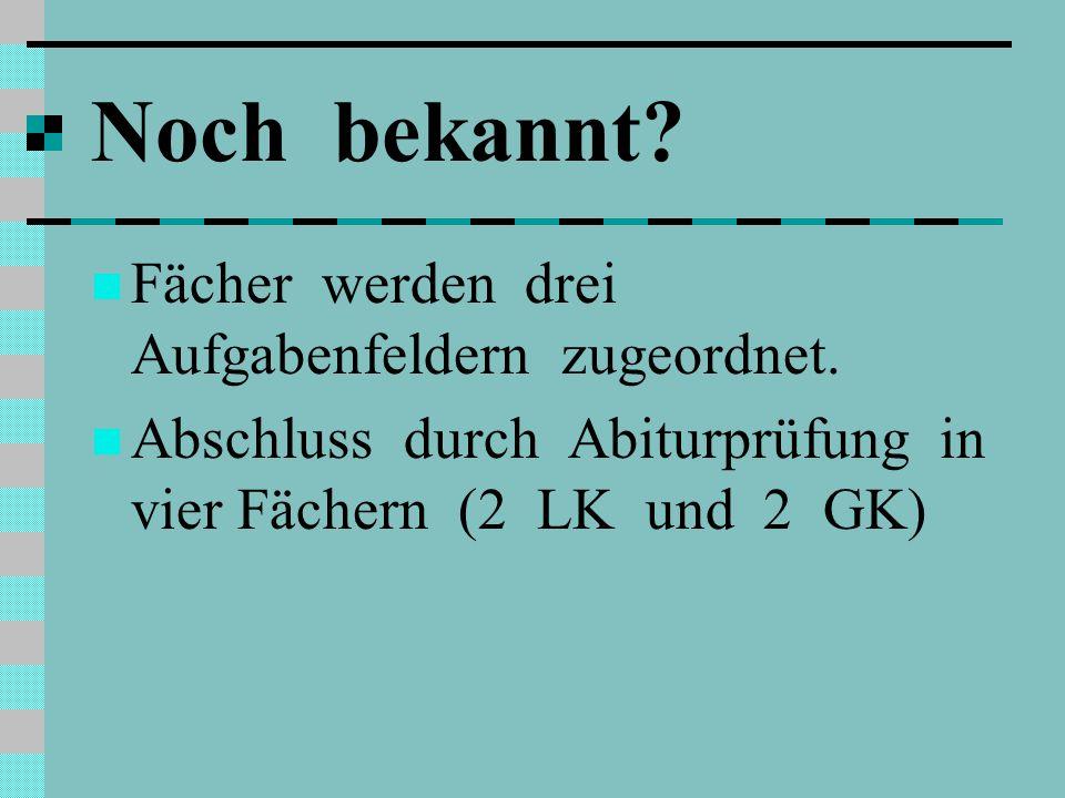 Noch bekannt Fächer werden drei Aufgabenfeldern zugeordnet.