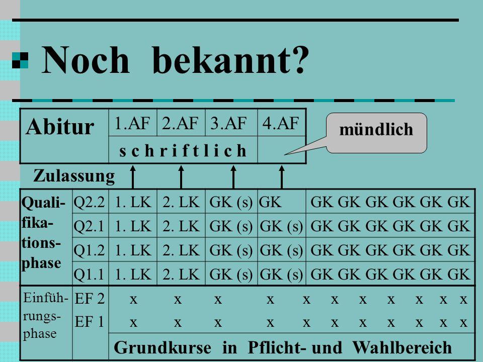 Noch bekannt Abitur 1.AF 2.AF 3.AF 4.AF s c h r i f t l i c h
