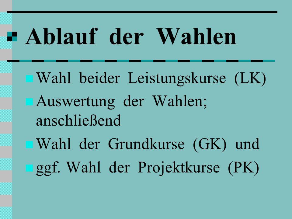 Ablauf der Wahlen Wahl beider Leistungskurse (LK)