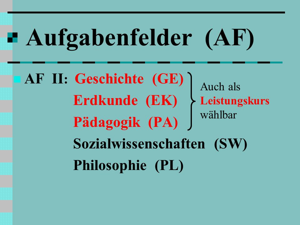 Aufgabenfelder (AF) AF II: Geschichte (GE) Erdkunde (EK)