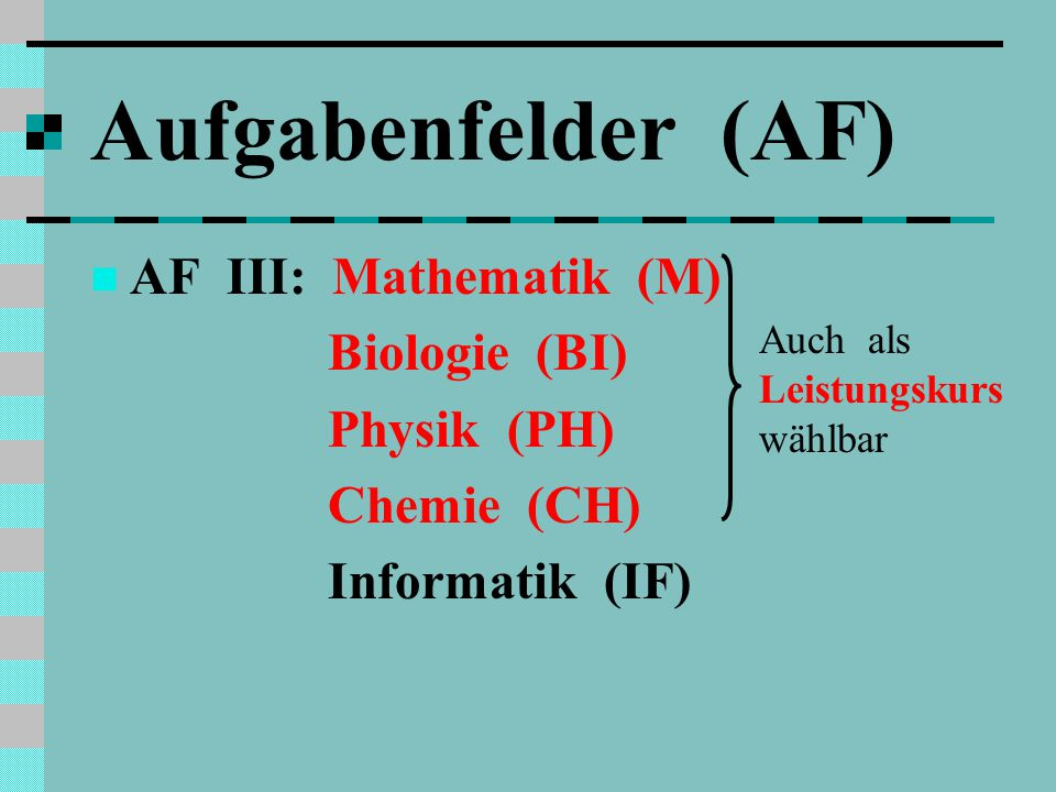 Aufgabenfelder (AF) AF III: Mathematik (M) Biologie (BI) Physik (PH)