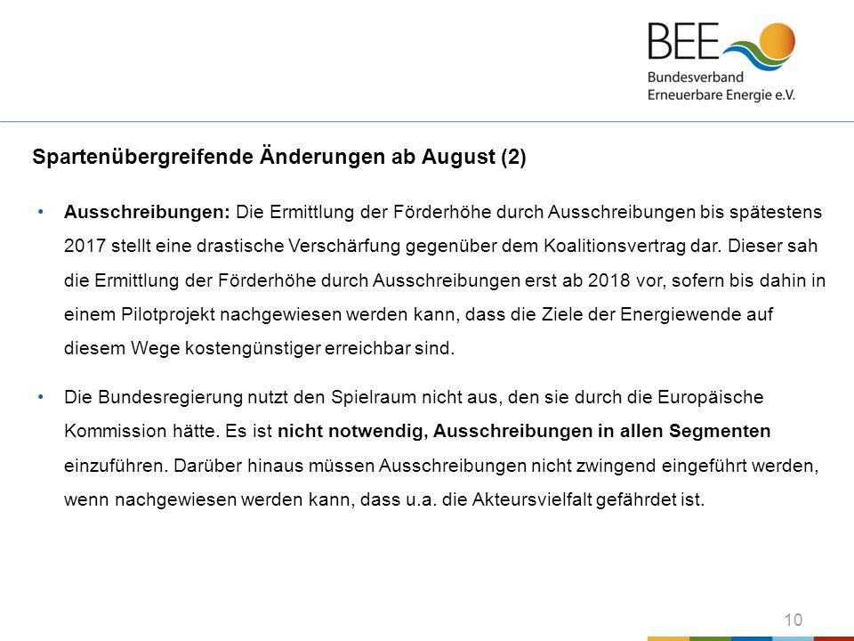 Spartenübergreifende Änderungen ab August (2)