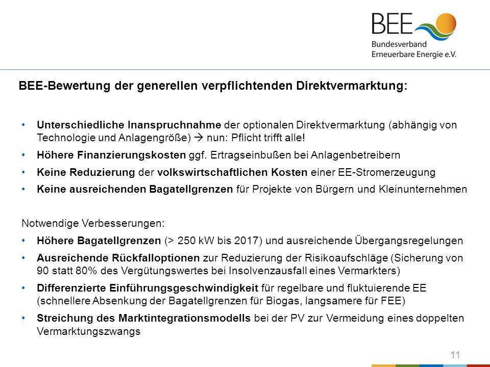 BEE-Bewertung der generellen verpflichtenden Direktvermarktung: