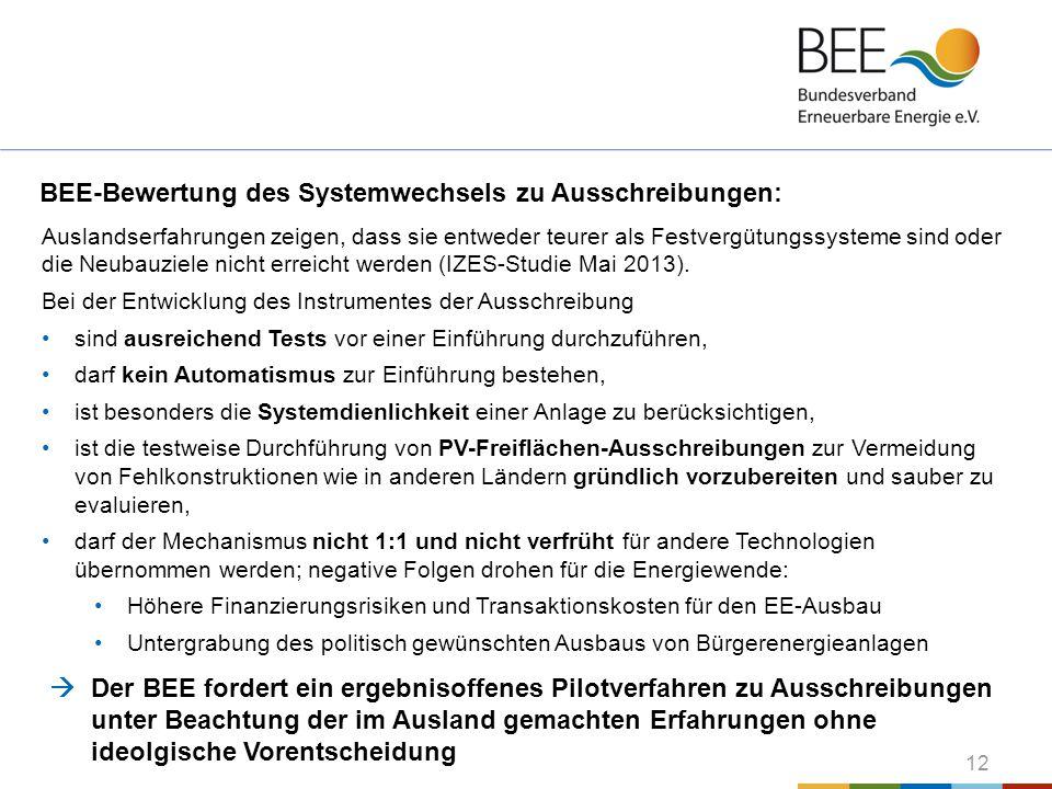 BEE-Bewertung des Systemwechsels zu Ausschreibungen:
