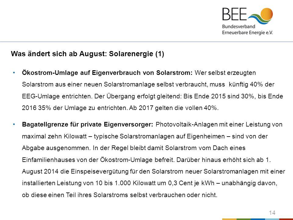 Was ändert sich ab August: Solarenergie (1)