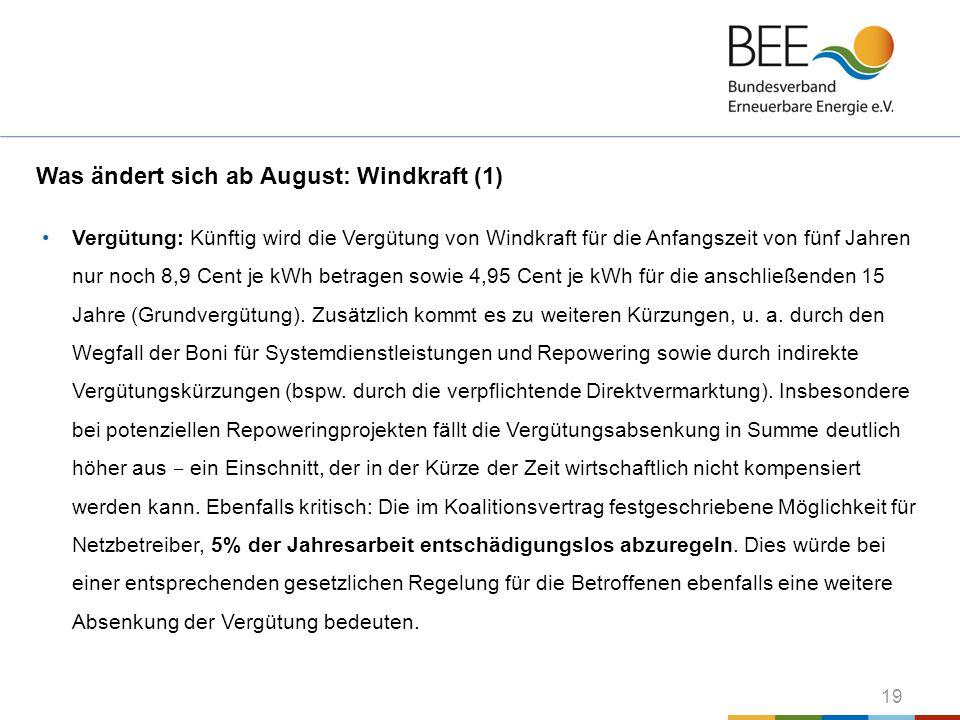 Was ändert sich ab August: Windkraft (1)