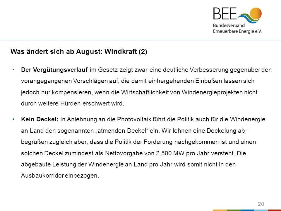 Was ändert sich ab August: Windkraft (2)