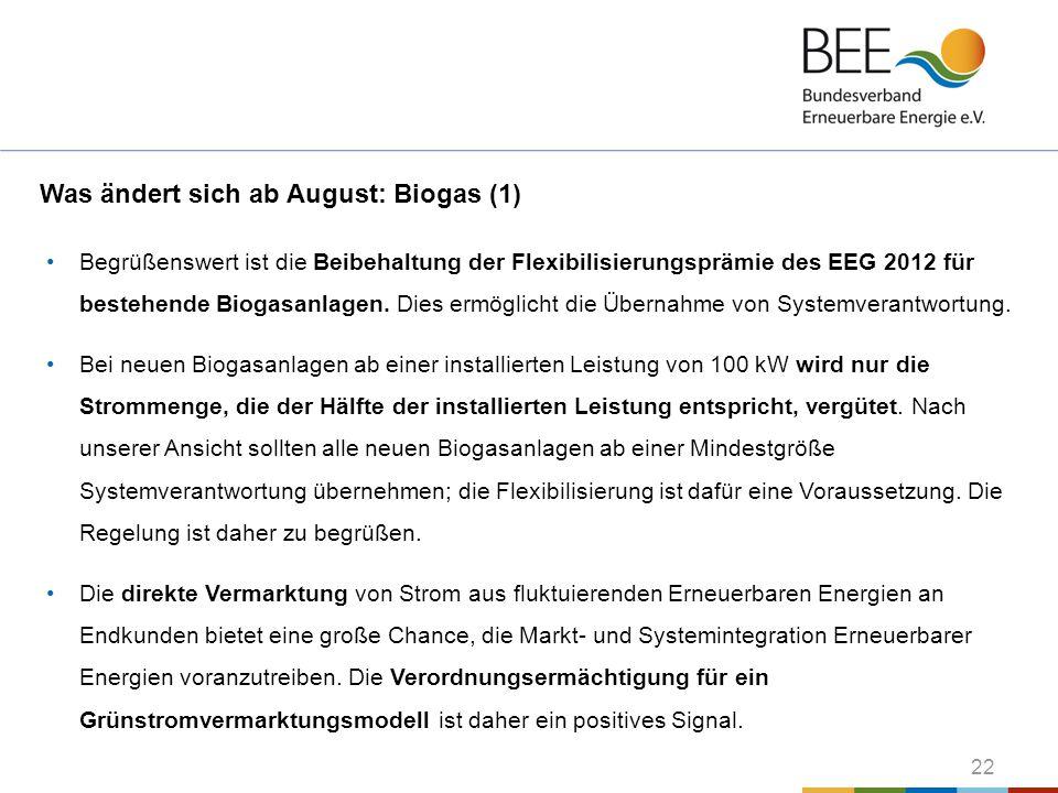 Was ändert sich ab August: Biogas (1)