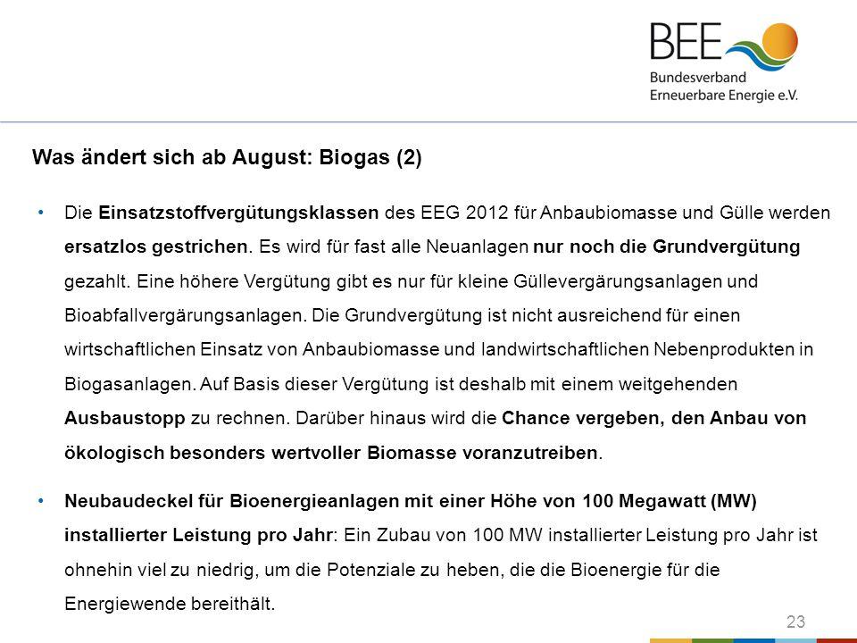 Was ändert sich ab August: Biogas (2)