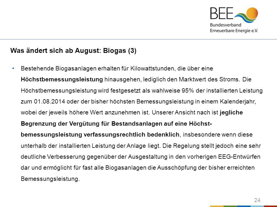 Was ändert sich ab August: Biogas (3)