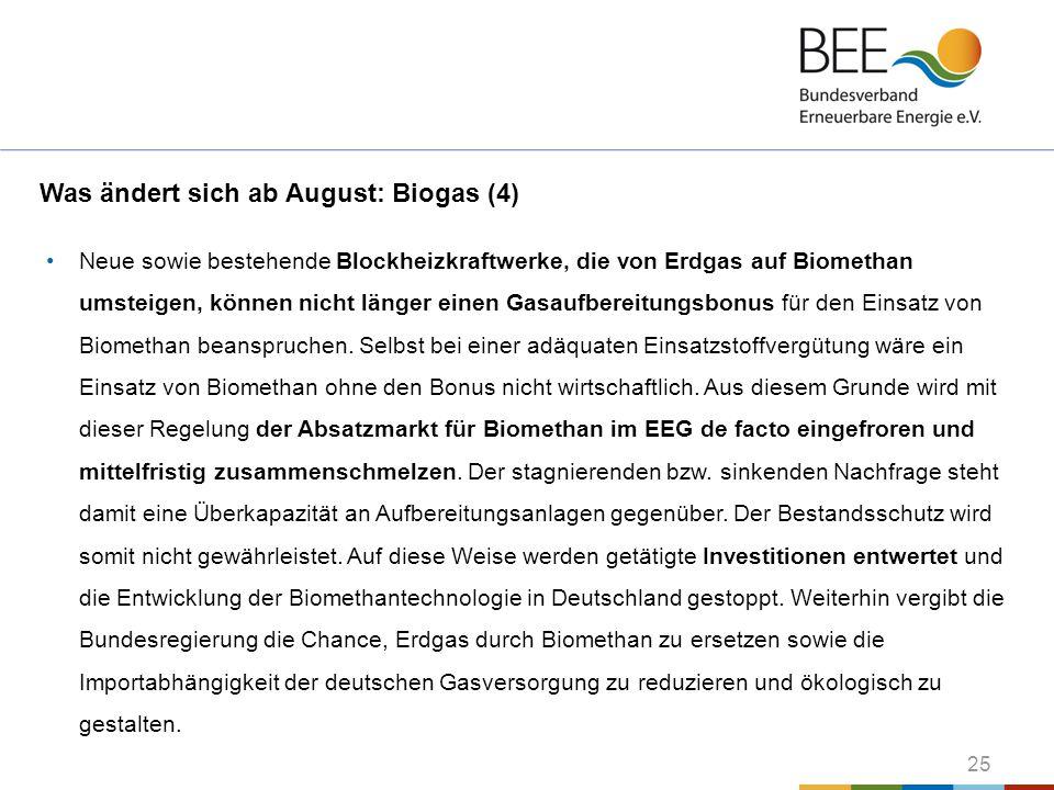 Was ändert sich ab August: Biogas (4)