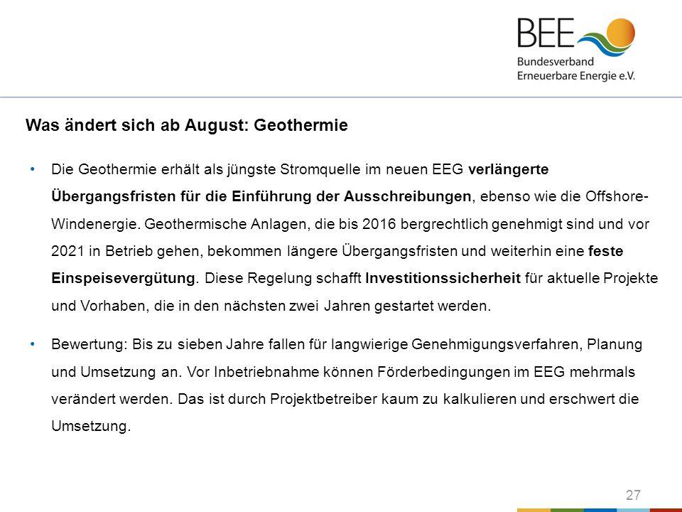 Was ändert sich ab August: Geothermie