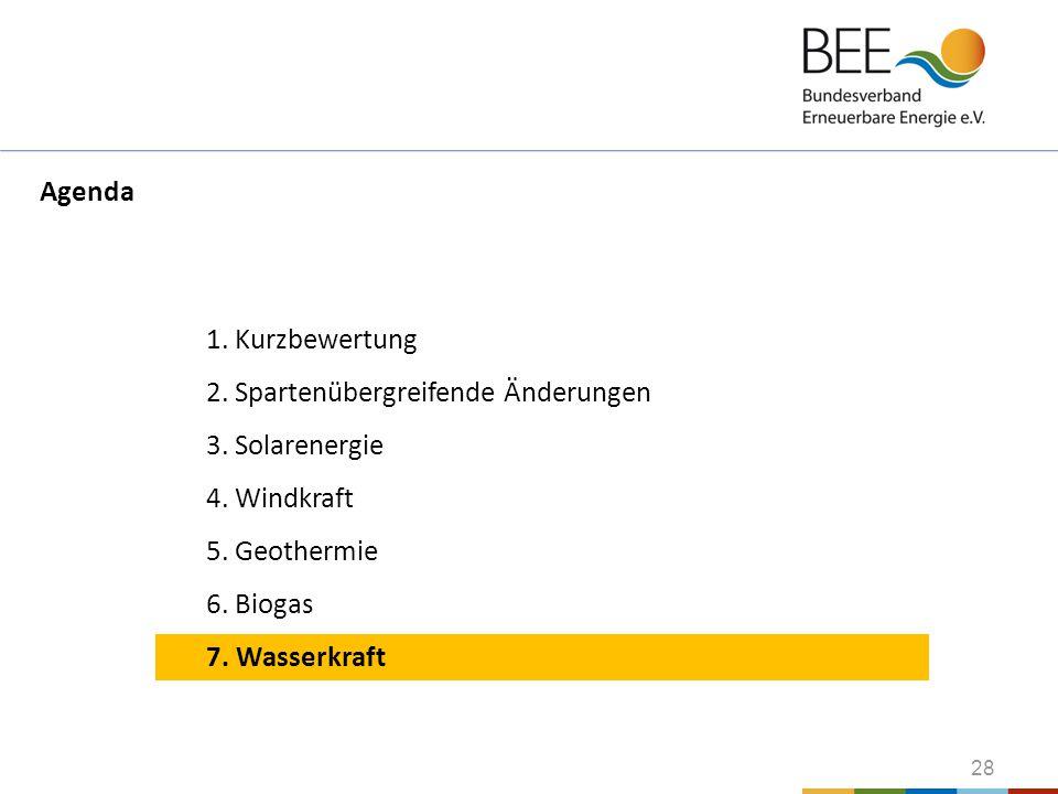 Agenda 1. Kurzbewertung. 2. Spartenübergreifende Änderungen. 3. Solarenergie. 4. Windkraft. 5. Geothermie.