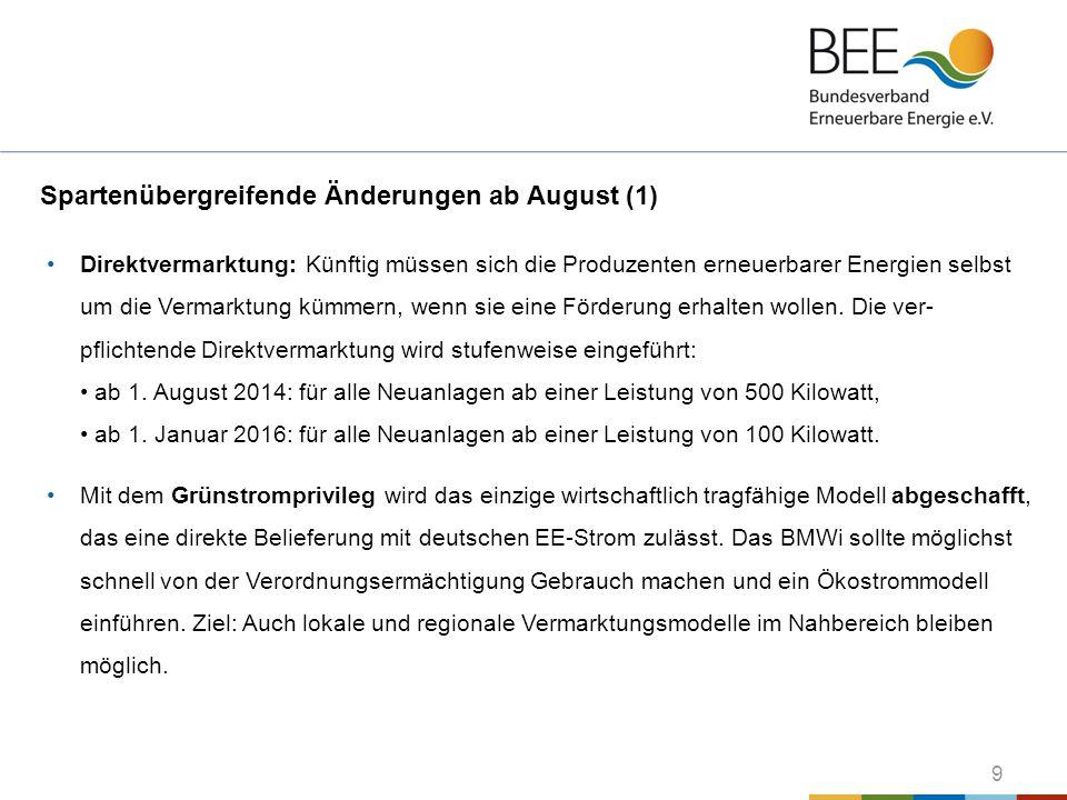 Spartenübergreifende Änderungen ab August (1)