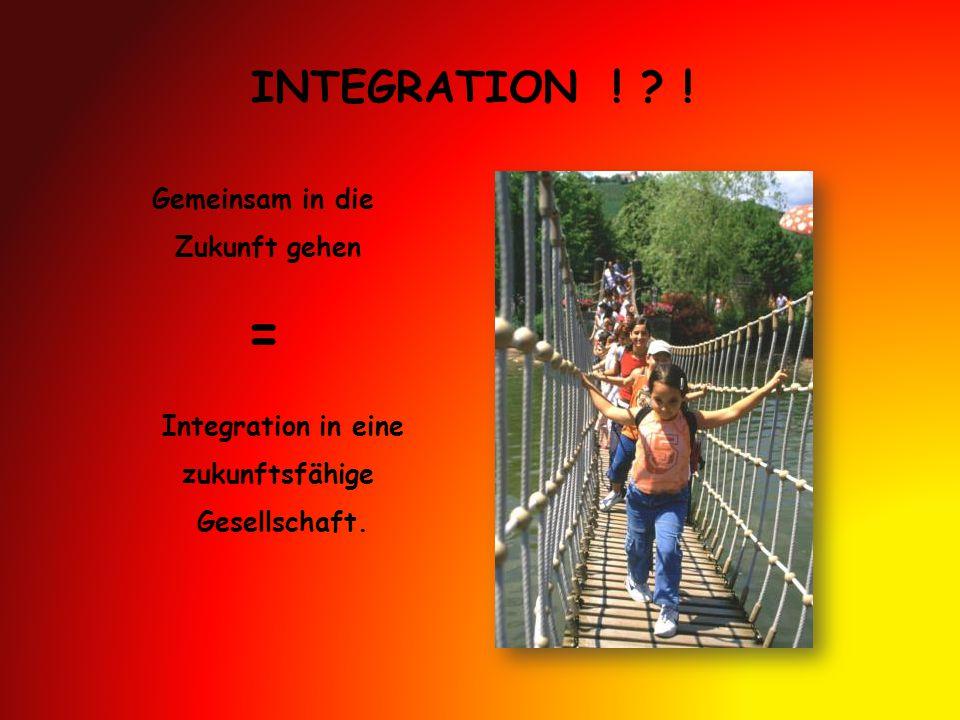 = INTEGRATION ! ! Gemeinsam in die Zukunft gehen Integration in eine