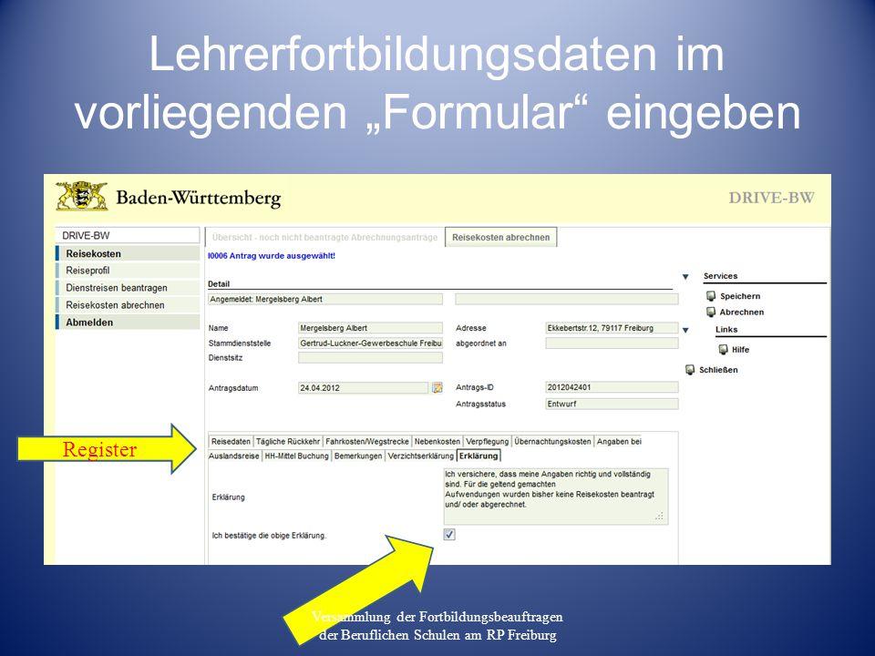 """Lehrerfortbildungsdaten im vorliegenden """"Formular eingeben"""
