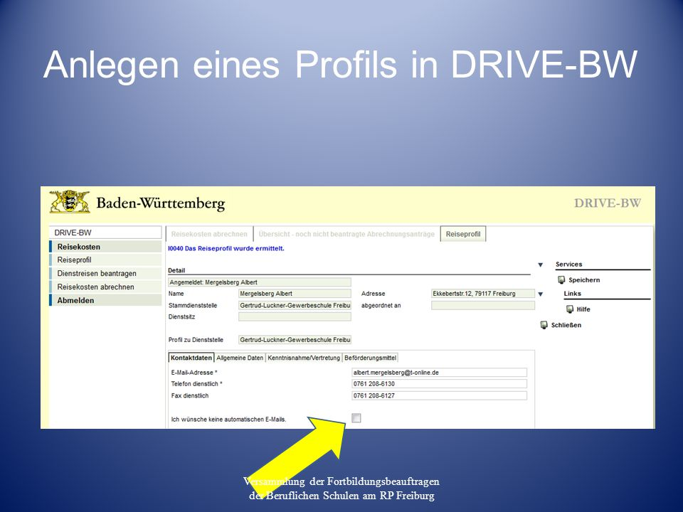 Anlegen eines Profils in DRIVE-BW