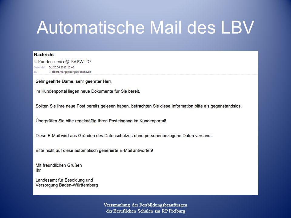 Automatische Mail des LBV