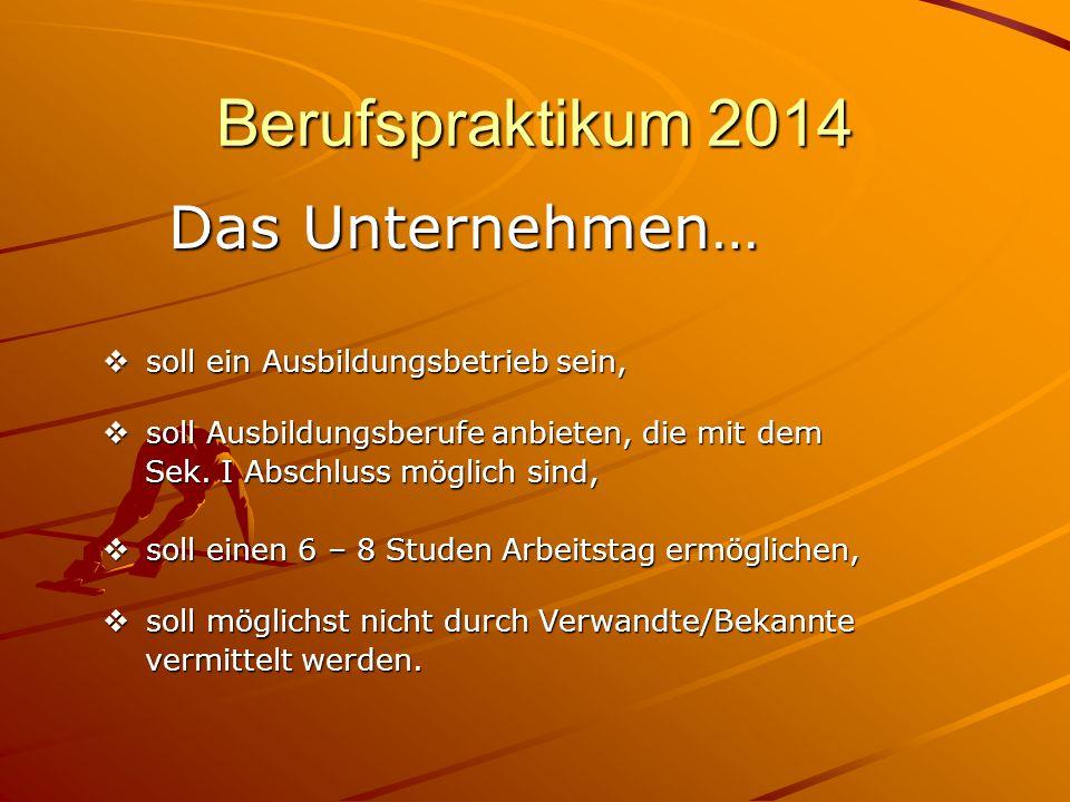 Berufspraktikum 2014 Das Unternehmen…
