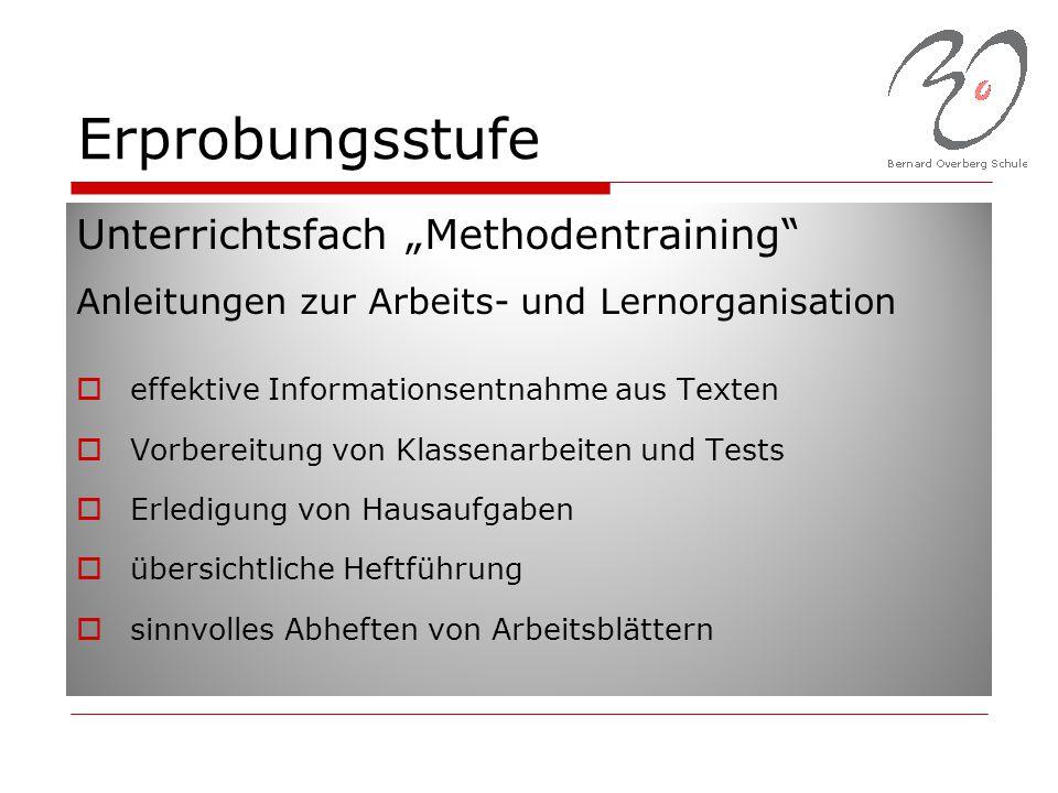 """Erprobungsstufe Unterrichtsfach """"Methodentraining"""