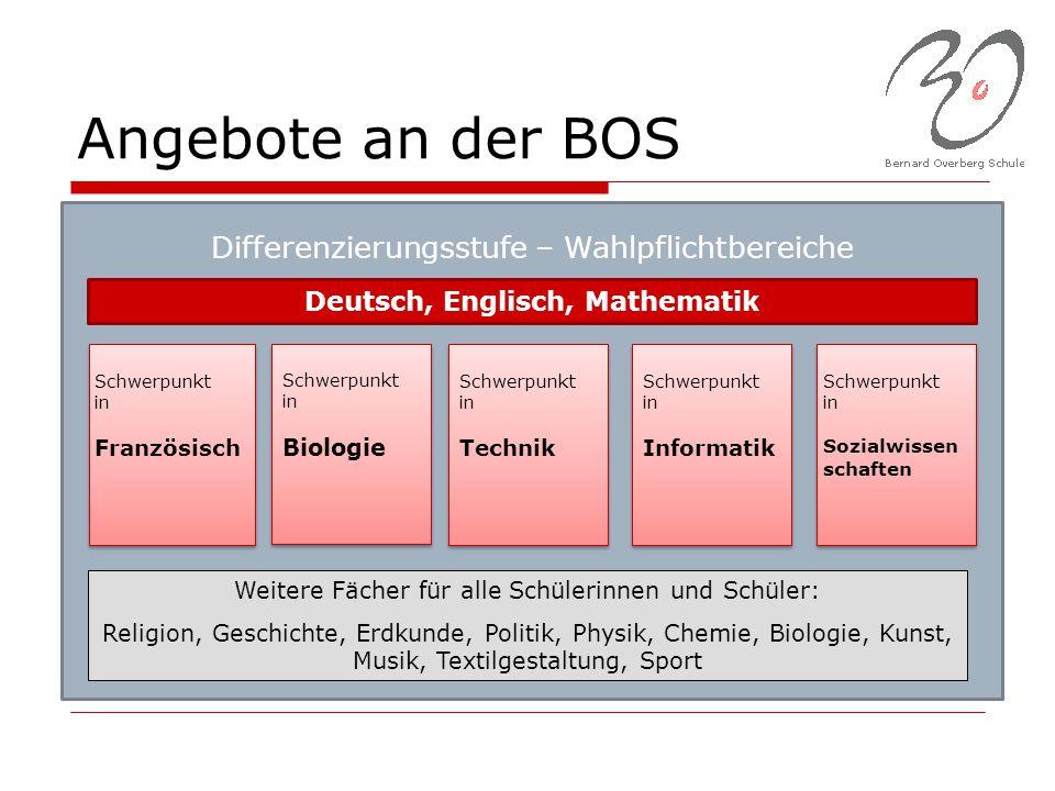 Deutsch, Englisch, Mathematik