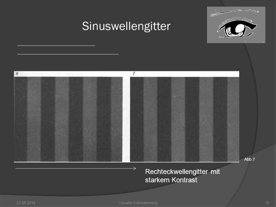Sinuswellengitter Rechteckwellengitter mit starkem Kontrast Abb.7