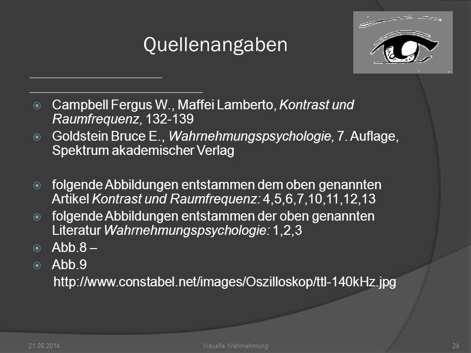 Quellenangaben Campbell Fergus W., Maffei Lamberto, Kontrast und Raumfrequenz, 132-139.