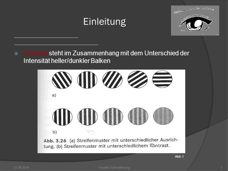 Einleitung Kontrast steht im Zusammenhang mit dem Unterschied der Intensität heller/dunkler Balken.