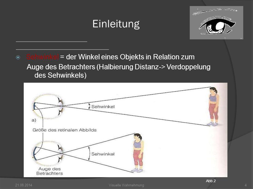 Einleitung Sehwinkel = der Winkel eines Objekts in Relation zum