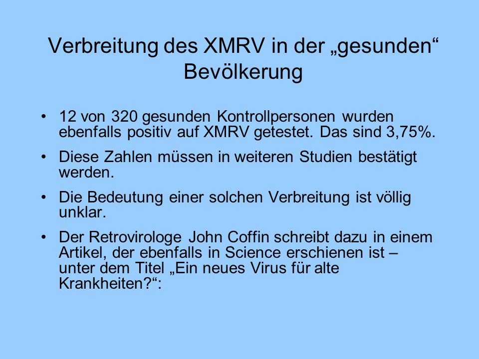 """Verbreitung des XMRV in der """"gesunden Bevölkerung"""