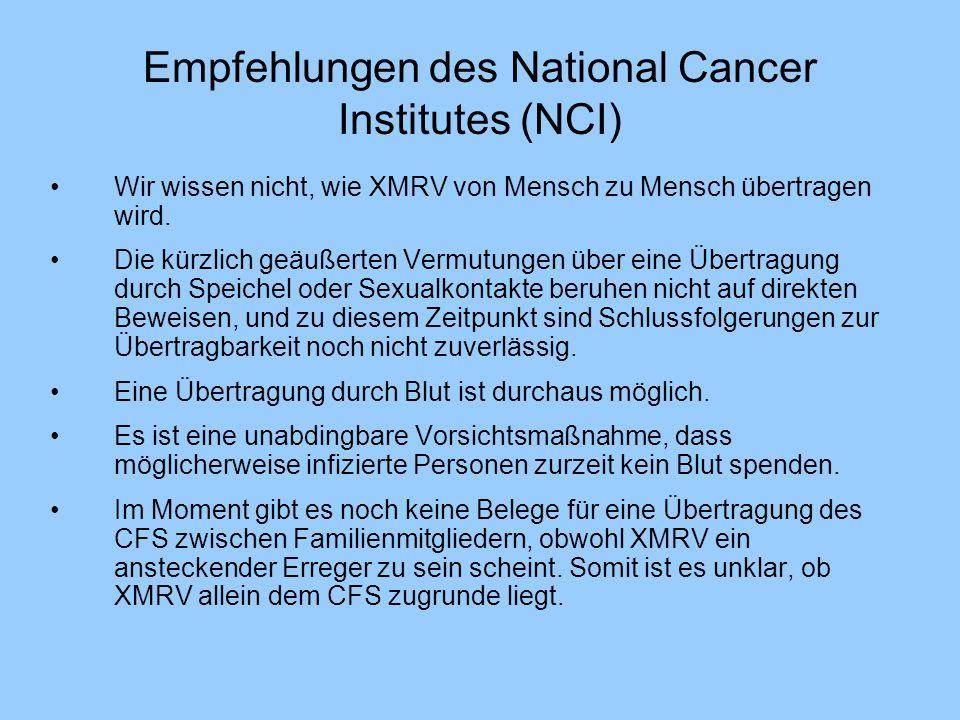 Empfehlungen des National Cancer Institutes (NCI)