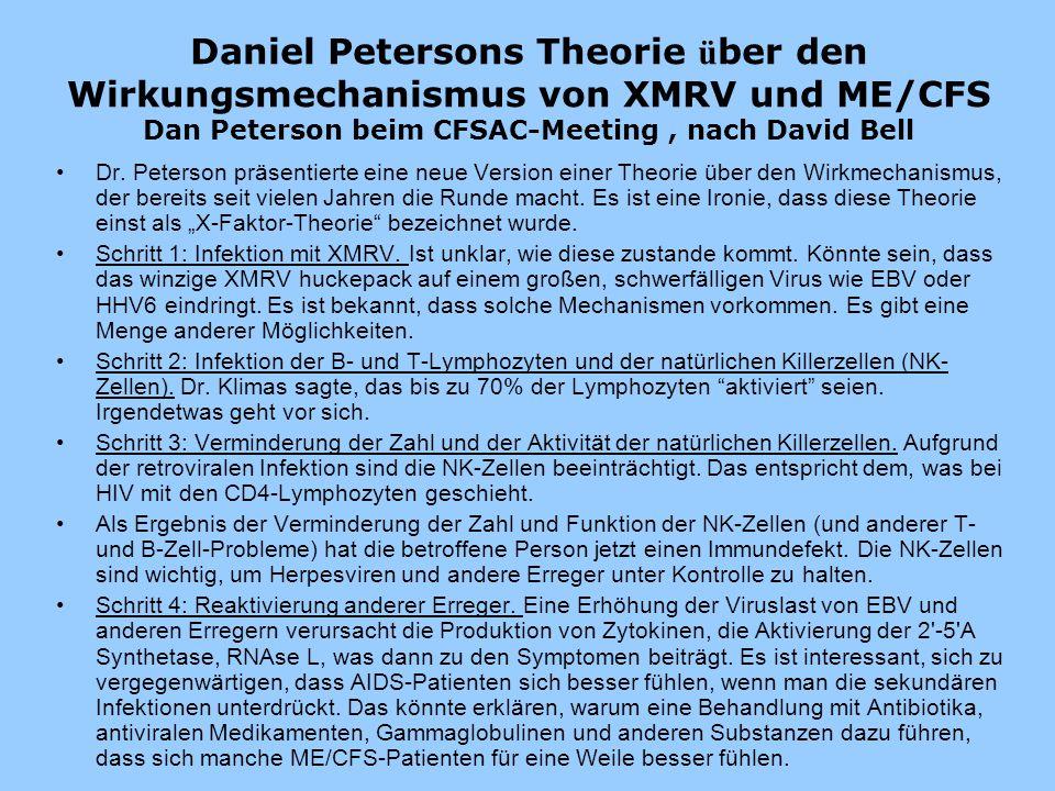 Daniel Petersons Theorie über den Wirkungsmechanismus von XMRV und ME/CFS Dan Peterson beim CFSAC-Meeting , nach David Bell
