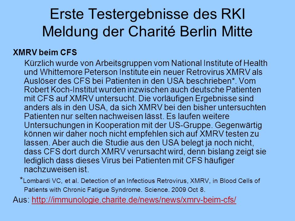 Erste Testergebnisse des RKI Meldung der Charité Berlin Mitte