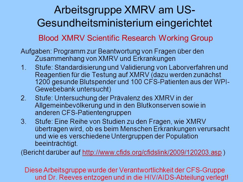 Arbeitsgruppe XMRV am US-Gesundheitsministerium eingerichtet Blood XMRV Scientific Research Working Group
