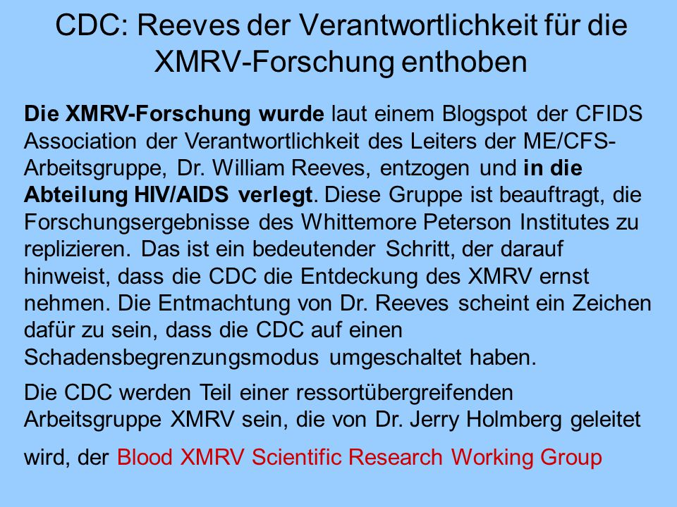 CDC: Reeves der Verantwortlichkeit für die XMRV-Forschung enthoben