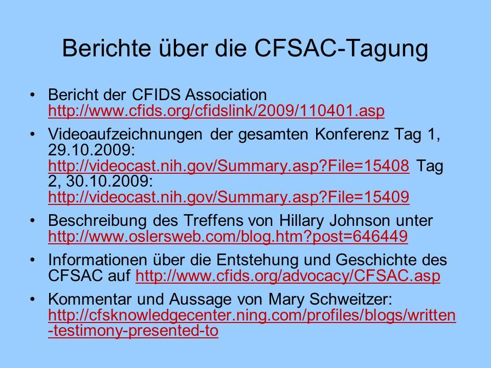 Berichte über die CFSAC-Tagung