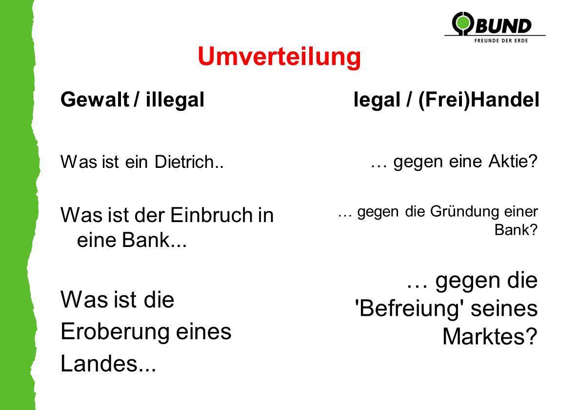 Umverteilung Gewalt / illegal legal / (Frei)Handel