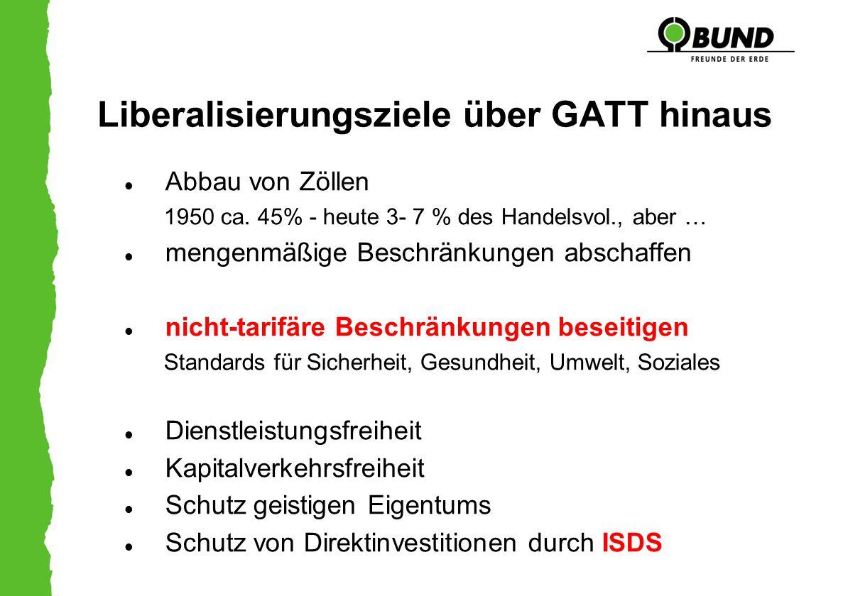 Liberalisierungsziele über GATT hinaus