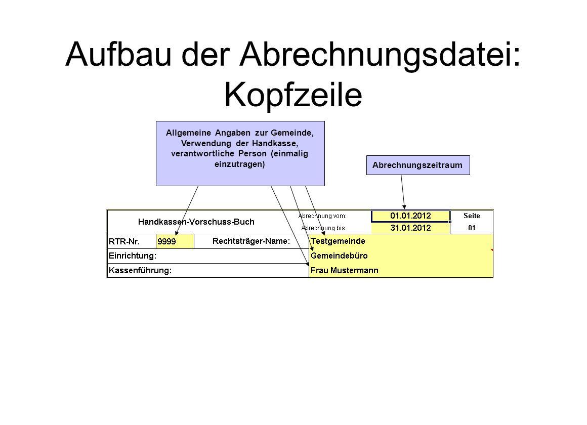 Aufbau der Abrechnungsdatei: Kopfzeile
