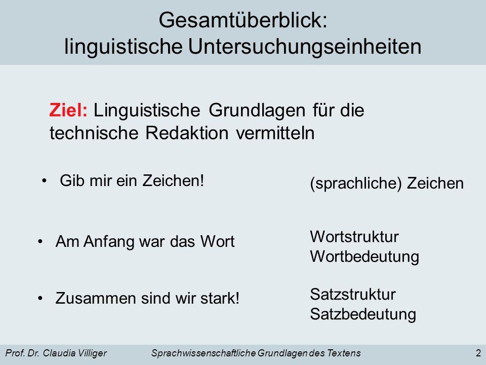 Gesamtüberblick: linguistische Untersuchungseinheiten
