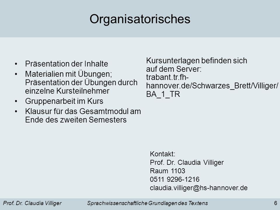 Organisatorisches Kursunterlagen befinden sich