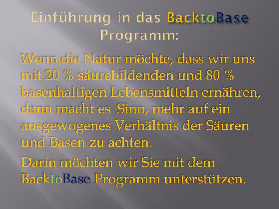 Einführung in das BacktoBase Programm: