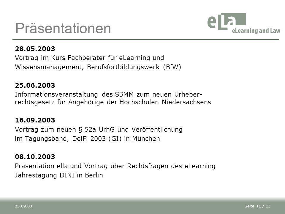 Präsentationen 28.05.2003. Vortrag im Kurs Fachberater für eLearning und. Wissensmanagement, Berufsfortbildungswerk (BfW)