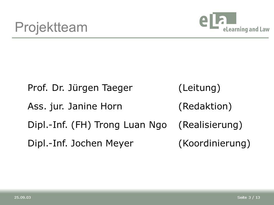 Projektteam Prof. Dr. Jürgen Taeger (Leitung)