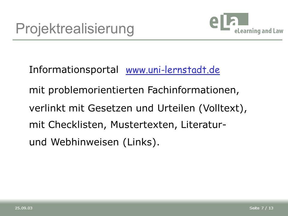 Projektrealisierung Informationsportal www.uni-lernstadt.de