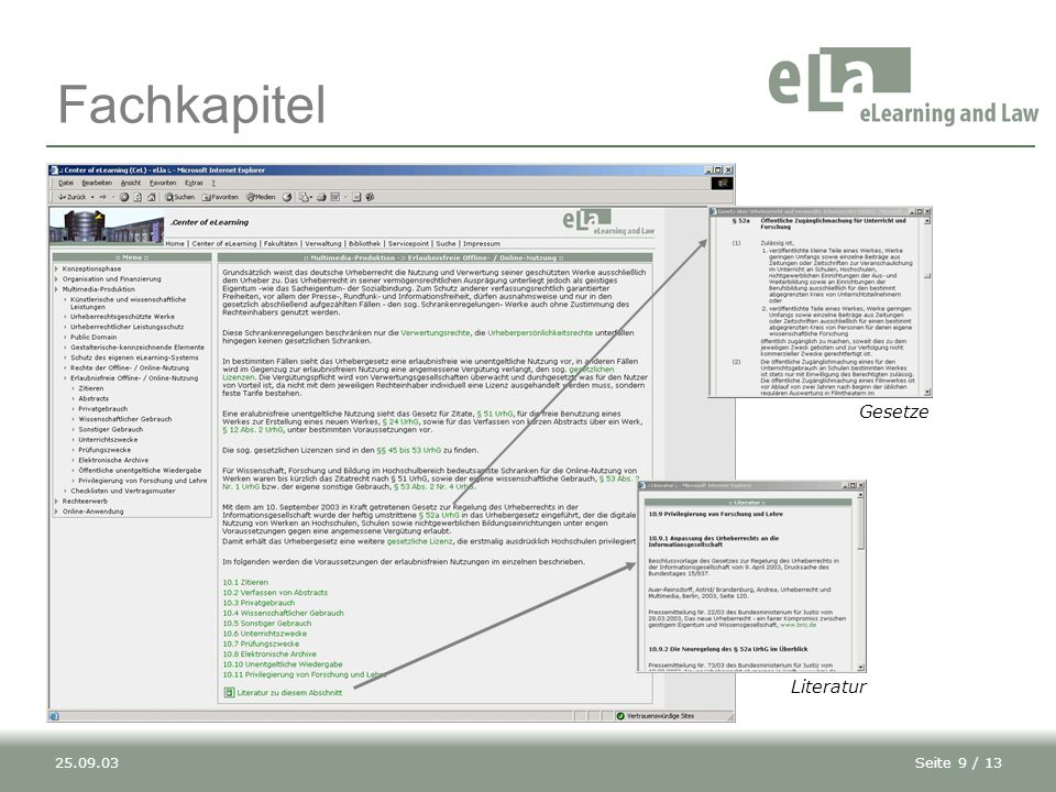 Fachkapitel Gesetze Literatur 25.09.03
