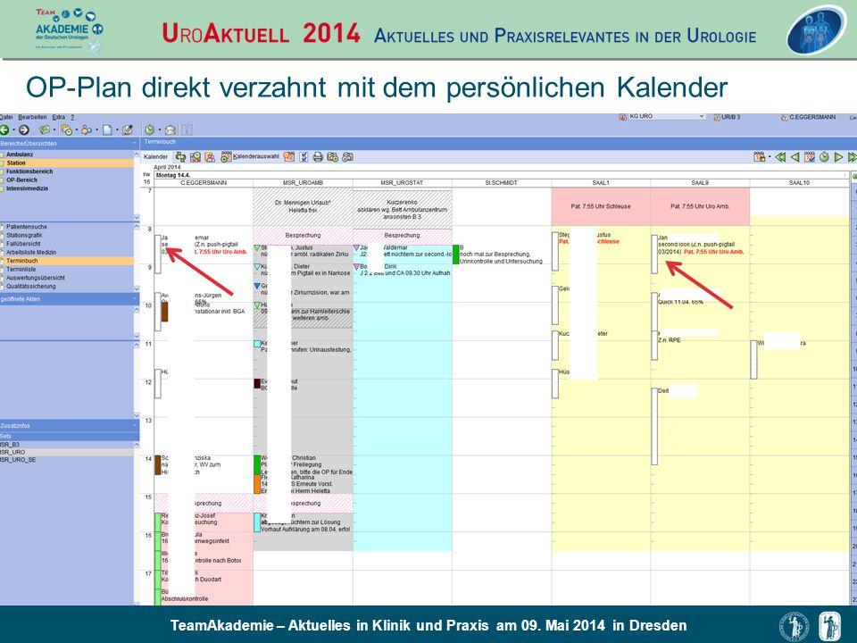 OP-Plan direkt verzahnt mit dem persönlichen Kalender